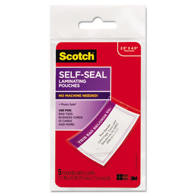 Self-Sealing Laminating Pouches, 12.5 mil, 2 13/16 x 4 9/16, Luggage Tag, 5/Pack
