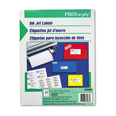 Pres-A-Ply 30-Up Inkjet Address Labels, 1 x 2-5/8, White, 3000/Box