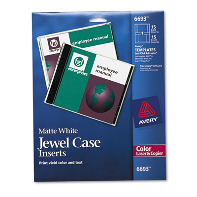 Laser CD/DVD Jewel Case Inserts, Matte White, 15/Pack