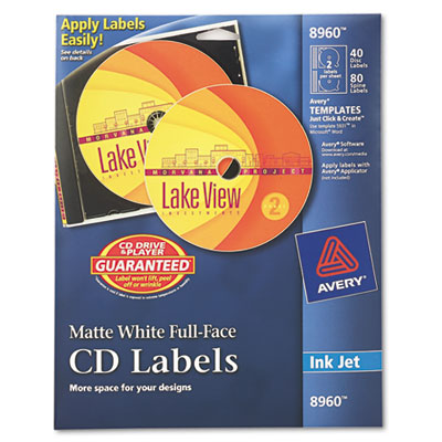 Inkjet Full-Face CD Labels, Matte White, 40/Pack