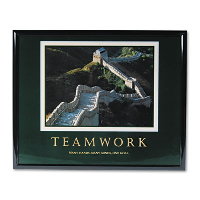 """Teamwork/Great Wall Of China"" Framed Motivational Print, 30 x 24"
