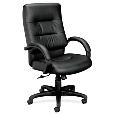 VL690 Series Executive High-Back Leather Chair, Black Leather
