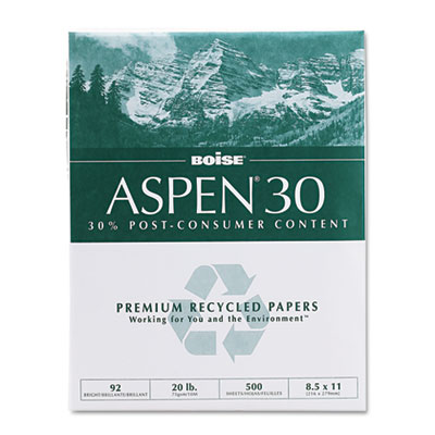 ASPEN 30% Recycled Office Paper,92 Bright, 20lb, 8-1/2 x 11, White, 5000/Carton