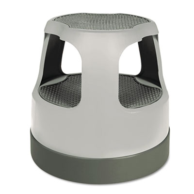 "Scooter Stool Round, 15"", Step & Lock Wheels, to 300 lbs, Gray"