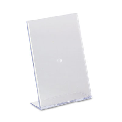Slanted Desk Sign Holder, Plastic, 5 x 7, Clear