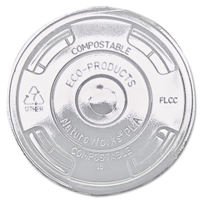 Compostable Cold Drink Cup Lids, Flat, Clear, 1000/Carton