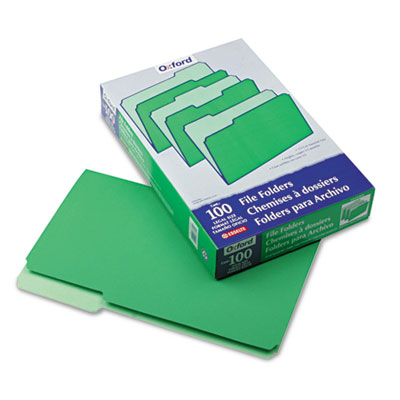 Two-Tone File Folders, 1/3 Cut Top Tab, Legal, Green/Light Green, 100/Box