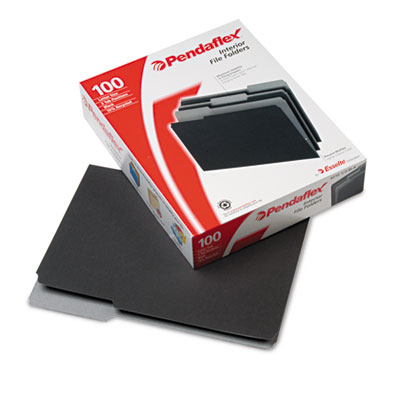 Interior File Folders, 1/3 Cut Top Tab, Letter, Black 100/Box