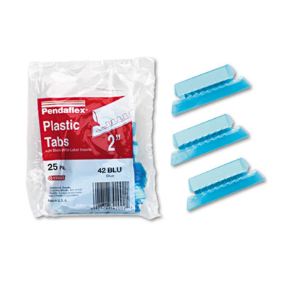 Hanging File Folder Tabs, 1/5 Tab, Two Inch, Blue Tab/White Insert, 25/Pack