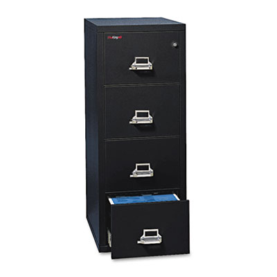 4-Drawer Vertical File, 17-3/4w x 31-9/16d, UL 350 for Fire, Letter, Black