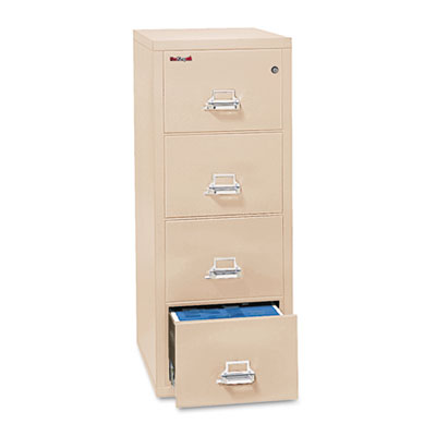4-Drawer Vertical File, 17-3/4w x 31-9/16d, UL 350° for Fire, Letter, Parchment