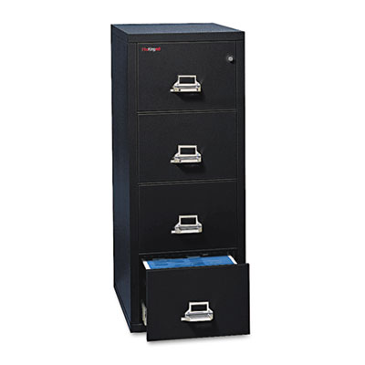 4-Drawer Vertical File, 20-13/16w x 31-9/16d, UL 350° for Fire, Legal, Black