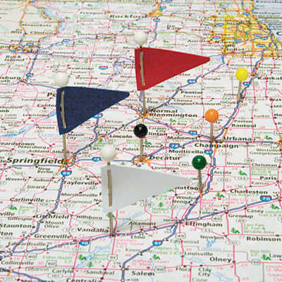 "Map Flags, Plastic, Assorted, 1 1/16"", 75/Box"
