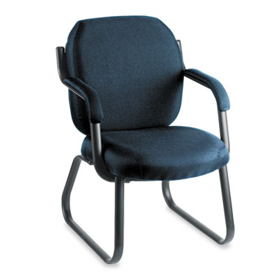 Commerce Series Guest Arm Chair, Sled Base, Ocean Blue Fabric