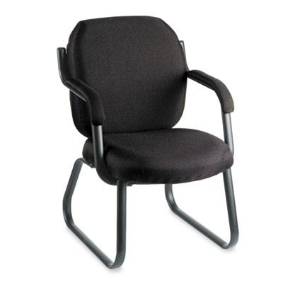 Commerce Series Guest Arm Chair, Sled Base, Asphalt Black Fabric