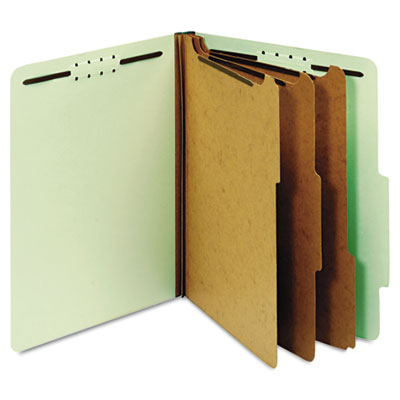 Pressboard Classification Folders, 8 Fasteners, 2/5 Cut, Letter, Green, 10/Box