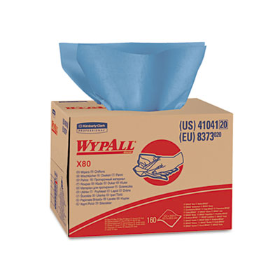 WYPALL X80 Wipers, Brag Box, HYDROKNIT, 12 1/2 x 16 4/5, 160 Wipers/Carton