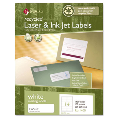 Recycled Laser and InkJet Labels, 1-1/3 x 4, White, 1400/Box