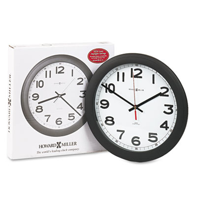 Norcross Auto Daylight-Savings Wall Clock, 12-1/4in, Black, 1 AA