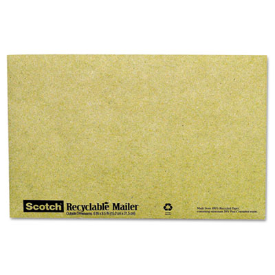 Recyclable Padded Mailer, #0, Green, 10/Pack