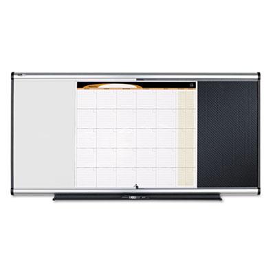 3-in-1 Board, Embossed Foam, 35 x 24, Black/White, Gray Aluminum/Plastic Frame