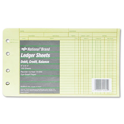 Extra Sheets for Four-Ring Ledger Binder, 5 x 8-1/2, 100/Pack