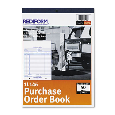 Purchase Order Book, Bottom Punch, Letter, Two-Part Carbonless, 50 Sets/Book