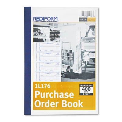Purchase Order Book, 7 x 2 3/4, Two-Part Carbonless, 400 Sets/Book