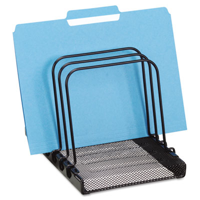 Mesh Flip File Folder Sorter, Five Sections, Black, 7 4/5 x 1 7/8 x 10 2/5