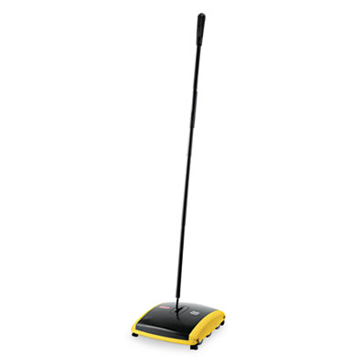 "Dual Action Sweeper, Boar/Nylon Bristles, 42"" Steel/Plastic Handle, Black/Yellow"
