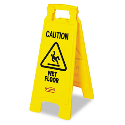 """Caution Wet Floor"" Floor Sign, Plastic, 11 x 1-1/2 x 26, Bright Yellow"