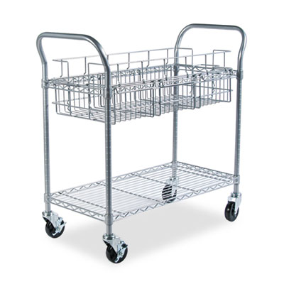 Wire Mail Cart, 600lbs, 18-3/4w x 39d x 38-1/2h, Metallic Gray