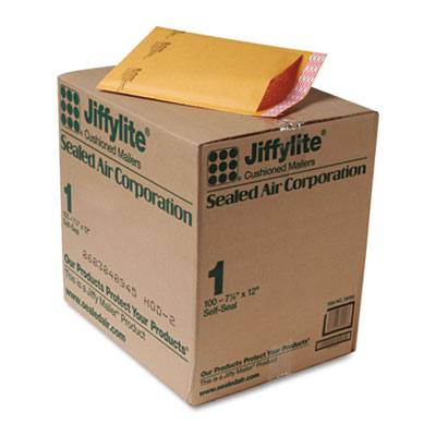 Jiffylite Self-Seal Mailer, Side Seam, #1, 7 1/4 x 12, Golden Brown, 100/Carton