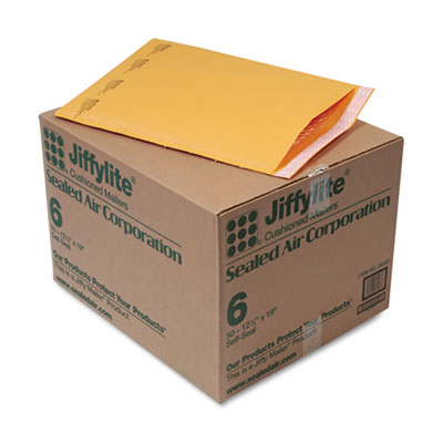 Jiffylite Self-Seal Mailer, Side Seam, #6, 12 1/2 x 19, Golden Brown, 50/Carton