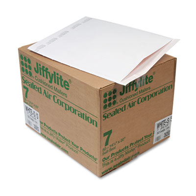 Jiffylite Self-Seal Mailer, Side Seam, #7, 14 1/4 x 20, White, 50/Carton