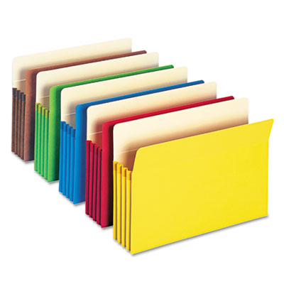"3 1/2"" Accordion Expansion Colored File Pocket, Straight Tab, Lgl, Asst, 5/Pack"