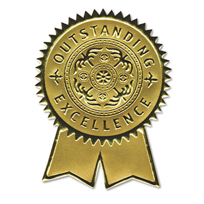 "Gold Foil Certificate Seals, ""Excellence"", Embossed Foil , 12/Pack"