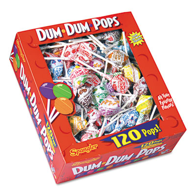 Dum-Dum-Pops, Assorted Flavors, Individually Wrapped, 120-Count Box