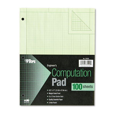 Engineering Computation Pad, Quad Rule, Letter, Green, 100 Sheets/Pad