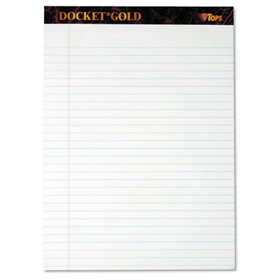 Docket Gold Perforated Pads, Legal Rule, Letter, White, 12 50-Sheets Pads/Pack
