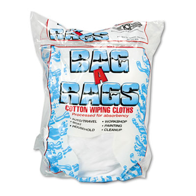 Bag-A-Rags Reusable Wiping Cloths, Cotton, White, 1lb Pack