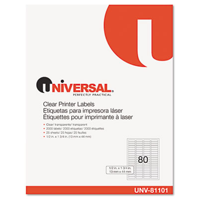 Laser Printer Permanent Labels, 1/2 x 1-3/4, Clear, 2000/Box