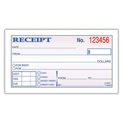 cash and rent receipt form. Form Size (W x H): 2 3/4 in x