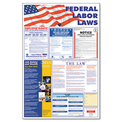 Federal 5-in-1 Labor Law Poster 24w x 30h