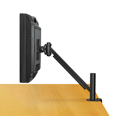 Easy-to-install two-piece clamp mounts monitor between desk and cubicle wall