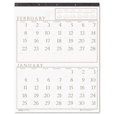 Two-Months-per-Page Wall Calendar in Punched Leatherette Binding, 20 x 26