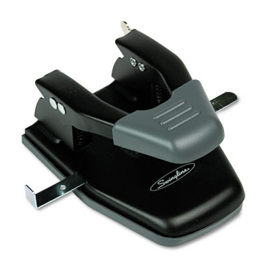 "28-Sheet Comfort Handle Steel Two-Hole Punch, 1/4"" Holes, Black"
