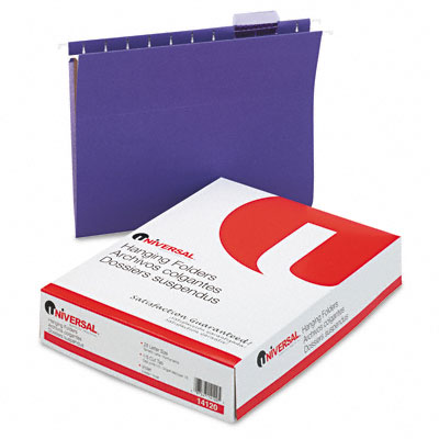 Hanging File Folders, 1/5 Tab, 11 Point Stock, Letter, Violet, 25 per Box