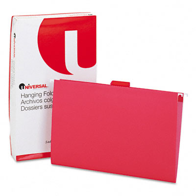 Hanging File Folders, 1/5 Tab, 11 Point Stock, Legal, Red, 25 per Box