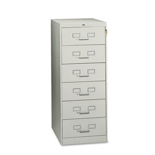 Tennsco 6-Drawer Multimedia Cabinet for 6 x 9 Cards, 21-1/4w x52h, Light Gray